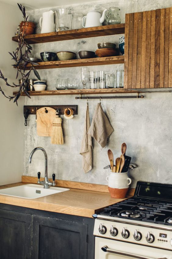 kitchen, black bottom cabinet, wooden top, grey wall, grey ceiling, wooden shelves, wooden cover