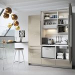 Kitchen Cupboard With Shelves, Stove, Sink, Drawers, White Floor, Thin Dining Table With Stools