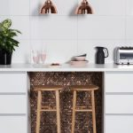Kitchen, Floor Tiles, White Wall Tiles, Pink Painted Wall, White Cabinet With White Top, Copper Mosaic Tiles Under The Top