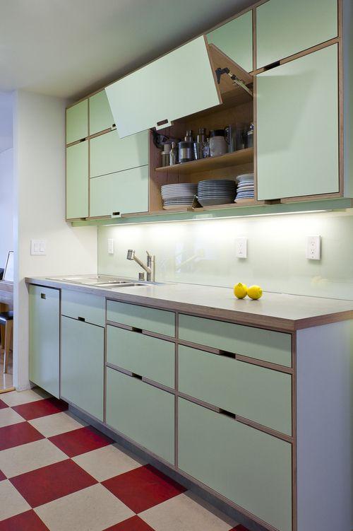 kitchen, red white plaid floor, white wall, soft green upper bottom cabinet, white backsplash, wooden top