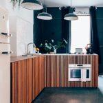 Kitchen, Seamless Grey Floor, White Wall, White Ceiling, Green Pendants, Wooden Slats Cebinet, Wooden Top, Grey Curtain