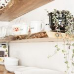 Kitchen, White Wall, Grey Kitchen Top, Wooden Slab Shelves