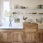 Kitchen, Wooden Bottom Cabinet, Wooden Drawers On Top, White Marble Top, White Wooden Floating Shelves, White Wall
