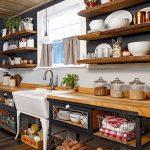 Kitchen, Wooden Floor, Open Wooden Bottom Shelves With Wire Basket, White Sink, White Pendant, Open Floating Shelves