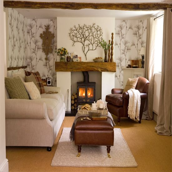 living room, yellow floor, leather bench, white sofa, leather couch, wallpaper, white built in fireplace, metal fireplace inside