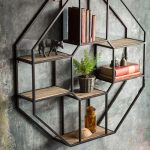 Metal Floating Hexagonal Shelves With Wooden Boards