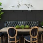 Modern Dining Sets With Bench Black Leathered Tufted Bench Black Wooden Chairs Wooden Table Glass Chandelier Black And White Wall Side Table Table Lamp