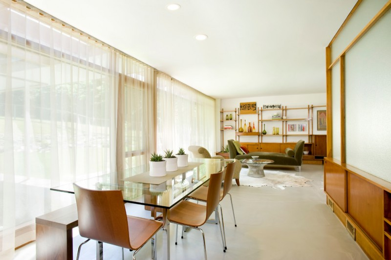 modern dining sets with bench glass dining table brown chairs wooden bench green daybed coffee table shelves glass windows white curtains