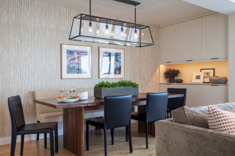 modern dining sets with bench glass pendant lamp wallpaper black chairs wooden dining table beige bench with back white cabinet recessed light