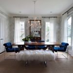 Modern Dining Sets With Bench White Chandelier White Shag Bench Modern Blue Tufted Chair Wooden Table Gray Wallpaper Wall Mirror Windows White Curtains