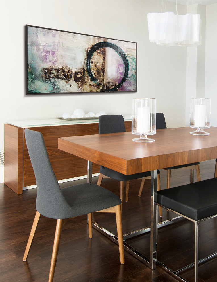 modern dining sets with bench wooden dining table black bench with chrome base gray chairs glass candle holder wooden console table artwork white wall