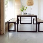 Modern Dining Sets With Bench Yellow Chandelier Wide Glass Windows Industrial Table Industrial Benches Wooden Wall