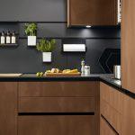 Modern Kitchen, Beige Floor, Dark Wooden Cabinet, Black Marble Countertop, Black Smooth Backsplash With Rail