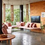 Modern Living Room, Seamless Floor, Pink Thin Benches, Wooden Wall, Glass Wall, Round Wooden Coffee Table