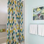 Nice Shower Curtains Colorful Shower Curtain Blue Rug Towel Holder White Hexagonal Tile Bathtub Toilet Artwok Blue Walls