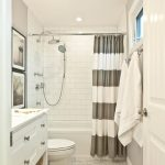Nice Shower Curtains White Subway Tiles Shower Fixtures White Vanity Toilet Gray White Stripe Curtain Towel Hooks Window Rattan Baskets