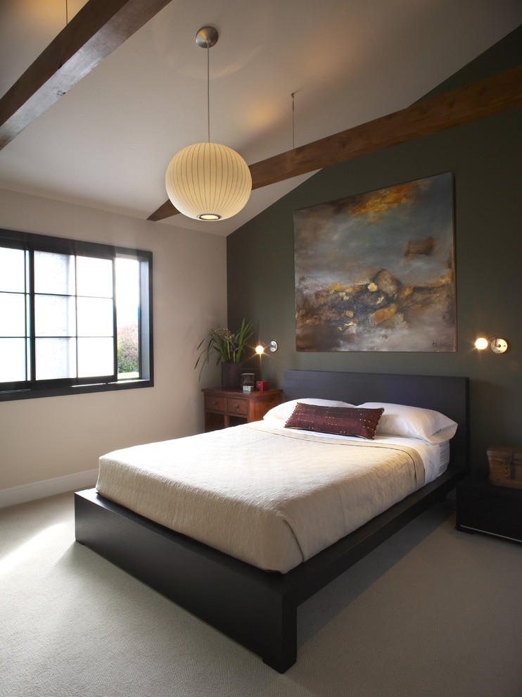 over bed lighting ball bubble pendant artwork black wall black floating bed bedding pillows bedside table miniature wall sconces wooden beams sliding glass windows