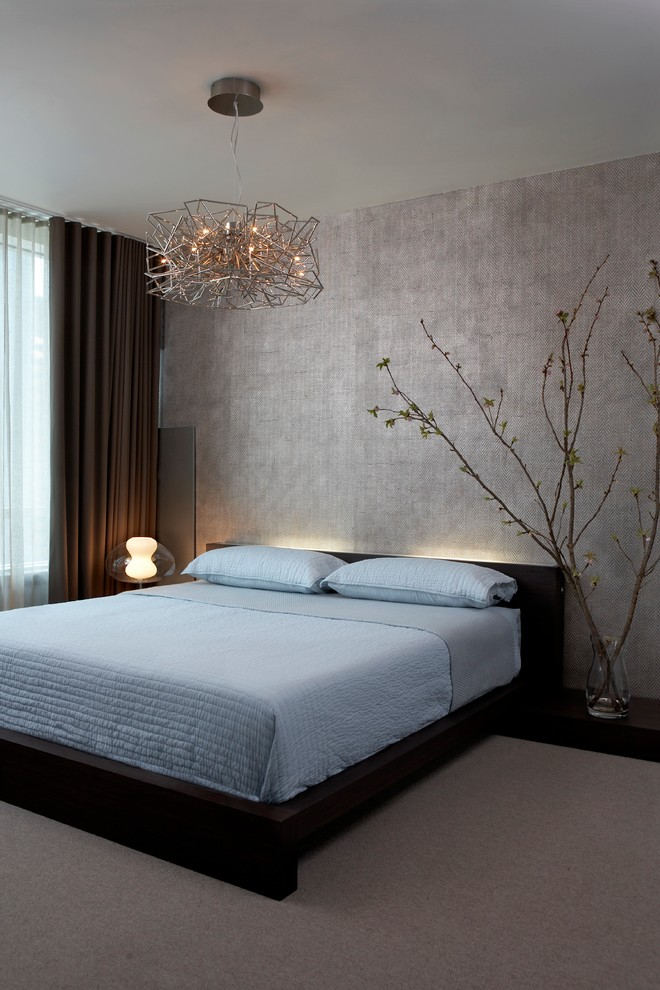 over bed lighting wallpaper black bed blue bedding recessed lighting dark brown curtain sheer curtain window table lamp pillows modern pendant