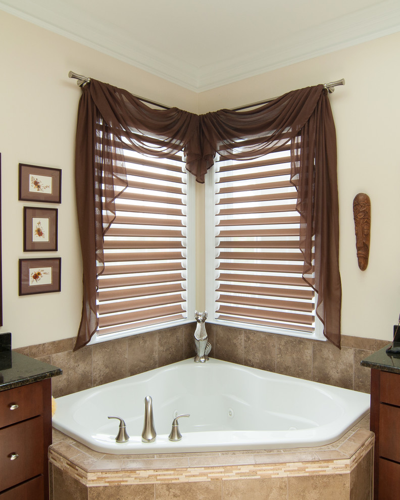privacy window treatment brown drapes window shutter beige walls brown wall decorations corner bathtub wooden vanity corner window glass top