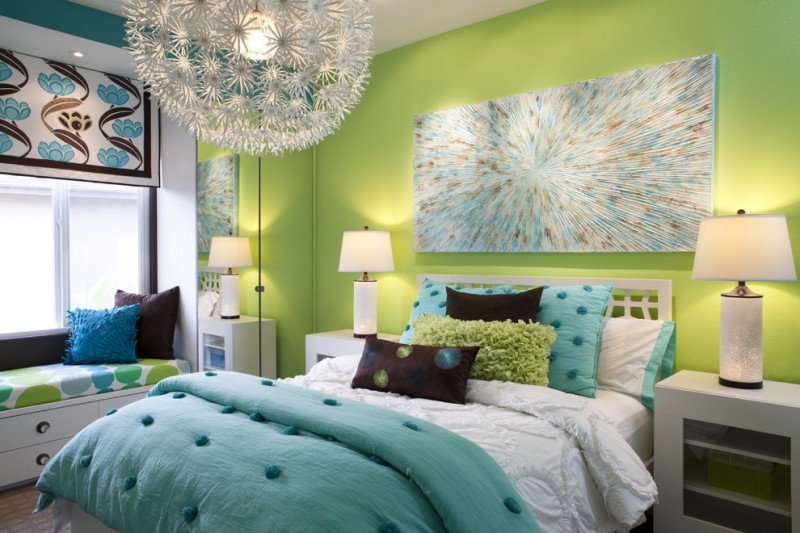 privacy window treatment chandelier window bench blue artwork green walls white nightstands white table lamps blue bedding drawers colorful window shade