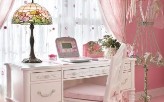 privacy window treatment pink curtains pink valances colorful table lamp white desk white wooden chair pink walls windows pink carpet
