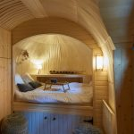 Round Alcove, White Bed Cushion, Grey Wooden Storage At The Bottom, Wooden Round Ceiling