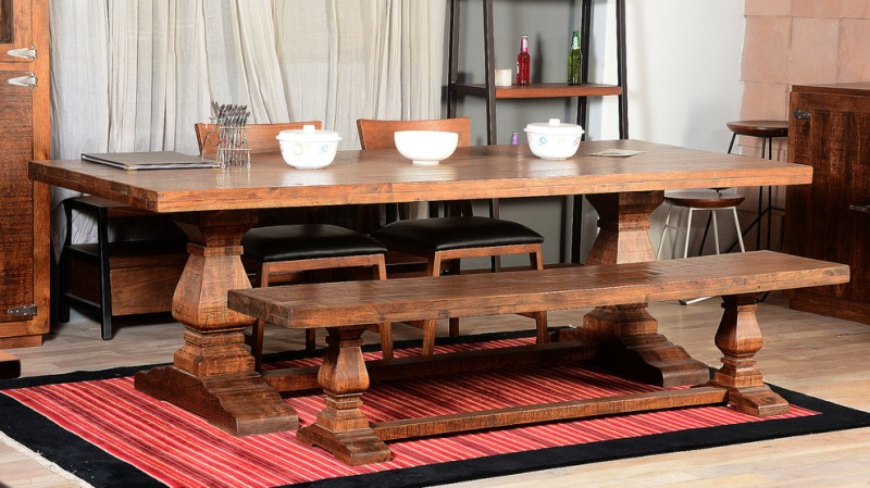 rustic dining table drapes wooden rack wooden cabinet stools wooden bench red striped area rug wooden chairs