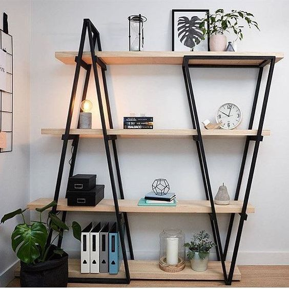 shelves with metal triangle upward and downward, wooden boards