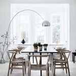 Silver Floor Lamp For Pendant, Grey Floor, Black Table, Wooden Chairs, White Wall, White Ceiling