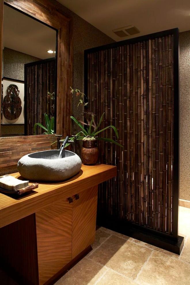 sink bowl bamboo divider wooden vanty stone sink bowl faucet wall mirror wooden wall beige floor tile recessed lighting artwork