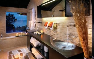 sink bowl wall mirror brown vanity bathroom mat wall mounted faucets recessed lighting windows built in window bench towel hooks