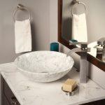 Sink Bowl White Marble Sink Bowl White Marble Top Faucet Small Wooden Faucet Towel Ring Wall Mirror Gray Walls Soap Bar