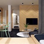 Small Aartment, Wooden Floor, Black Floor, Wooden Wall Panel, TV, Sofa, Wooden Round Table, Black Pendant, Green Chair, Mirror, Grey Curtain