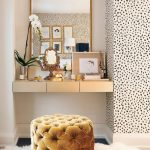 Small Alcove, White Wall, Wallpaper, Floating Golden Drawer, Mirror, Golden Tufted Ottoman, White Fur Rug