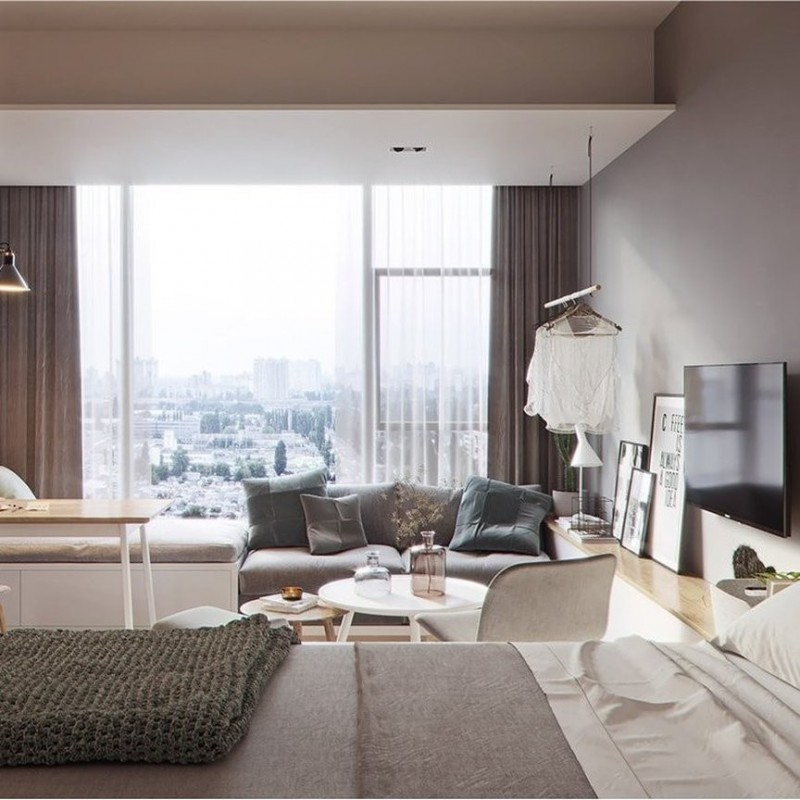 small apartment, bedroom, wooden floor, grey wall, clothes rail, TV, wooden floor, grey sofa, white round table, chairs, large windows
