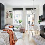 Small Apartment, Wooden Floor, White Dining Set, Black Upper Bottom Kitchen Cabinet, Black Cupboard, Black Sofa, Floating Shelves, Bed, White Chandelier
