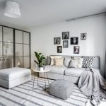 Small Apartment, Wooden Floor, White Wall, Light Grey Sofa Ottoman, White Round Side Table, Glass Partition, White Pendant