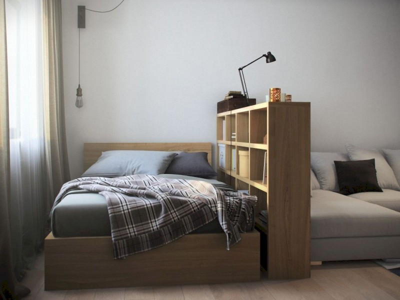 small apartment, wooden floor, wooden short shelves partition, wooden bed platform, pendant, grey sofa, curtain