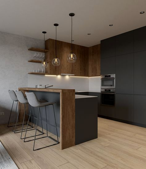 small kitchen, wooden floor, dark cabinet and pantry, wooden upper cabinet, pendants, ceiling lamp, floating shelves, grey stool