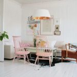 Small Living Room Ideas Pinterest White Pendant Lamp Brown Chair Pastel Pink Chair Light Green Coffee Table Sectional Sofa Cowhide Rug Pillows Wall Art Decor