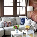 Small Living Room Ideas Pinterest White Small Table White Floor Lamp Brick Wall Windows Gray Couch Colorful Pillows Yellow Rug