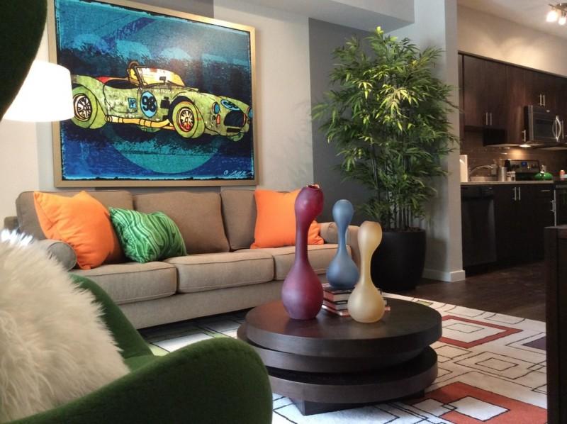 small living room ideas pinterest wooden adjustable nesting table pop pillows artwork beige sofa green chair shag pillow patterned rug