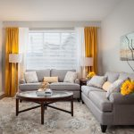 Small Living Room Ideas Pinterest Yellow And White Curtains Gray Sofas Floor Lamp Table Lamp Pillows Round Coffee Table Glass Door Window Side Table Artwork