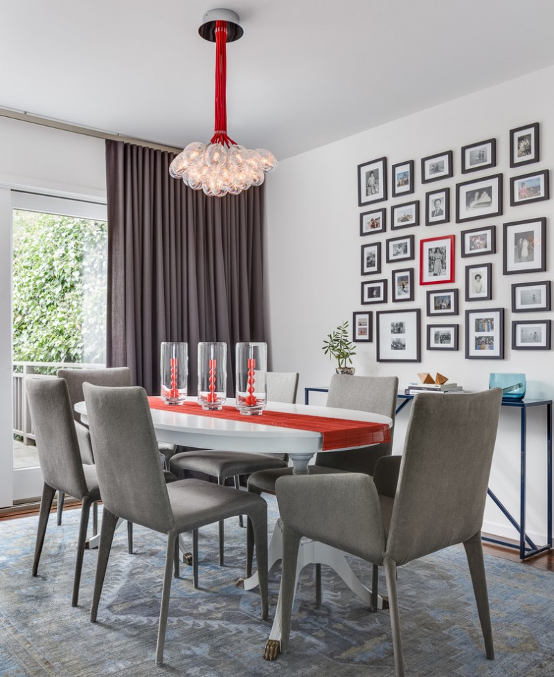 transitional dining room sets glass chandelier dark gray curtains glass door frames white wall gray chiars white dining table gray rug