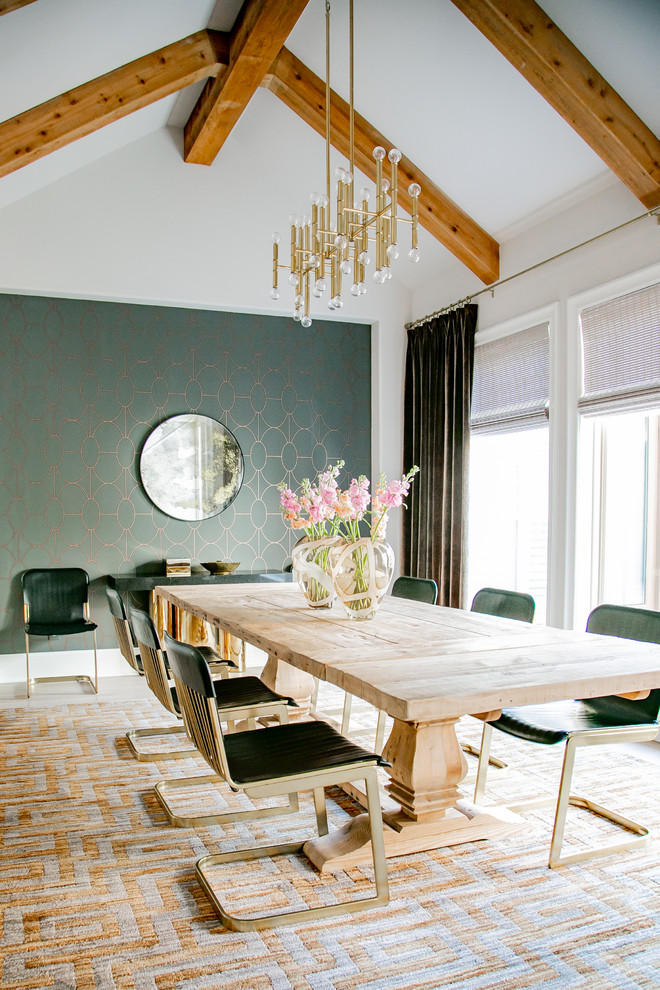 transitional dining room sets gold chandelier wood beams white ceiling wallpaper wall mirror windows dark curtain rustic dining table modern black and gold chairs area rug