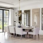 Transitional Dining Room Sets Modern Glass Chandelier Wall Arts Indoor Plants Rustic Wooden Dining Table Light Gray Chairs Glass Doors White Curtains