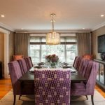 Transitional Dining Room Sets Purple Chairs Chandelier Glass Windows Beige Rug Black Dining Table Black Cabinets Wallpaper Brown Curtains