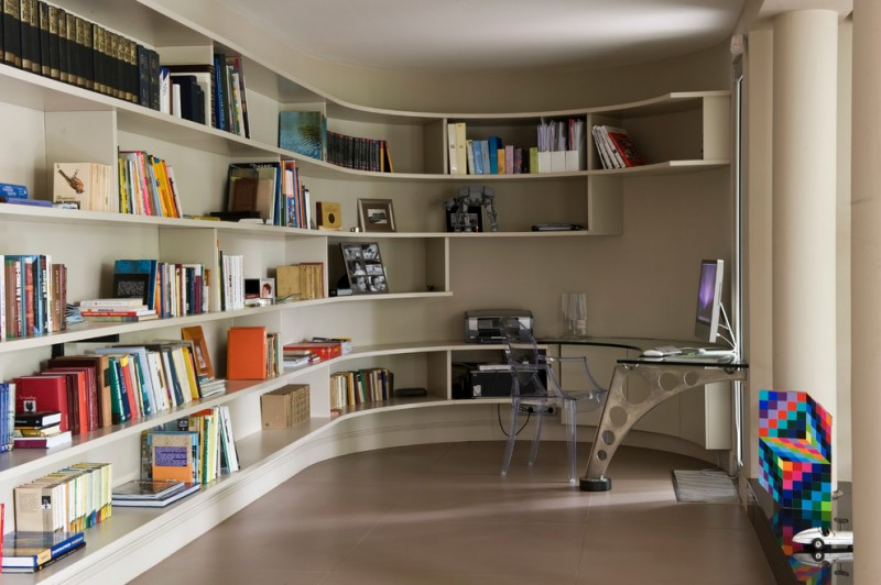unique bookcase curved bookshelves ghost office chair windows modern built in office desk computer books printer