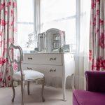 Vanity Chair White Vanity White Chair Vanity Mirror Bay Window Pink Floral Drapes Purple Sofa Glass Flower Vase Floral Valances