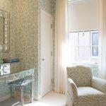 Vanity Chair Windows Chrome Vanity Drawers Swivel Lift Bar Stool Wall Mirror Patterned Wallpaper Skirt Armchair White Curtains